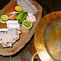 【お宿うち山12周年記念!】アワビと鱧の贅沢しゃぶしゃぶ付き!お部屋食サービス