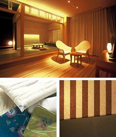 全室温泉ひのき風呂付「客室」