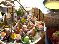 【グレードアップ×遠州灘の桶盛り】旬魚のお造り桶盛り×鰻の釜飯≫和食会席