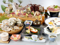当館人気 旬の味覚 (伊勢えび ・ 牛陶板焼おかわり1回 ・揚げたて天婦羅)プラン