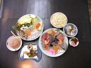 雪見鍋(うどん・豚・鶏・魚貝類入り寄せ鍋)お部屋食★刺身付