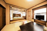 【温泉付和洋室】51平米 天蓋付ベッド&リビング モダン造り