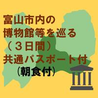 富山市内の博物館等を巡る(3日間)共通パスポート付 朝食付プラン