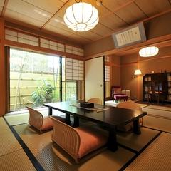 【1室のみの特別室】8畳+7.5畳/ 檜風呂の温泉・中庭付