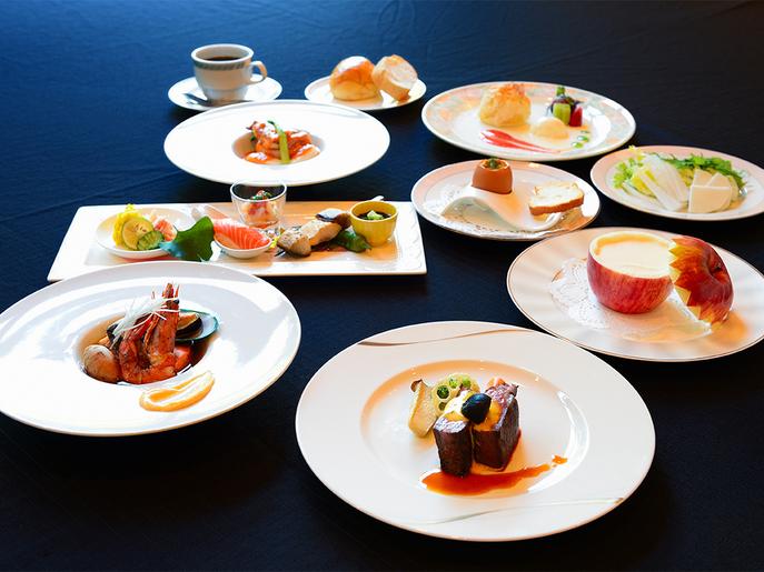 【青森ハイグレードプラン】和・洋・中のフルコースディナーセット☆グラスワイン付(1泊2食付)
