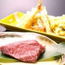 ■■厳選五品の天ぷら盛りと国産牛ステーキを味わう山里満足プラン♪■■
