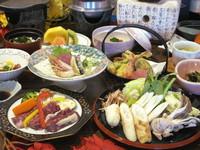 【料理長おすすめ会席】「牛ハラミの陶板焼き」「きりたんぽ鍋」「舞茸の天ぷら」「松茸料理2品」