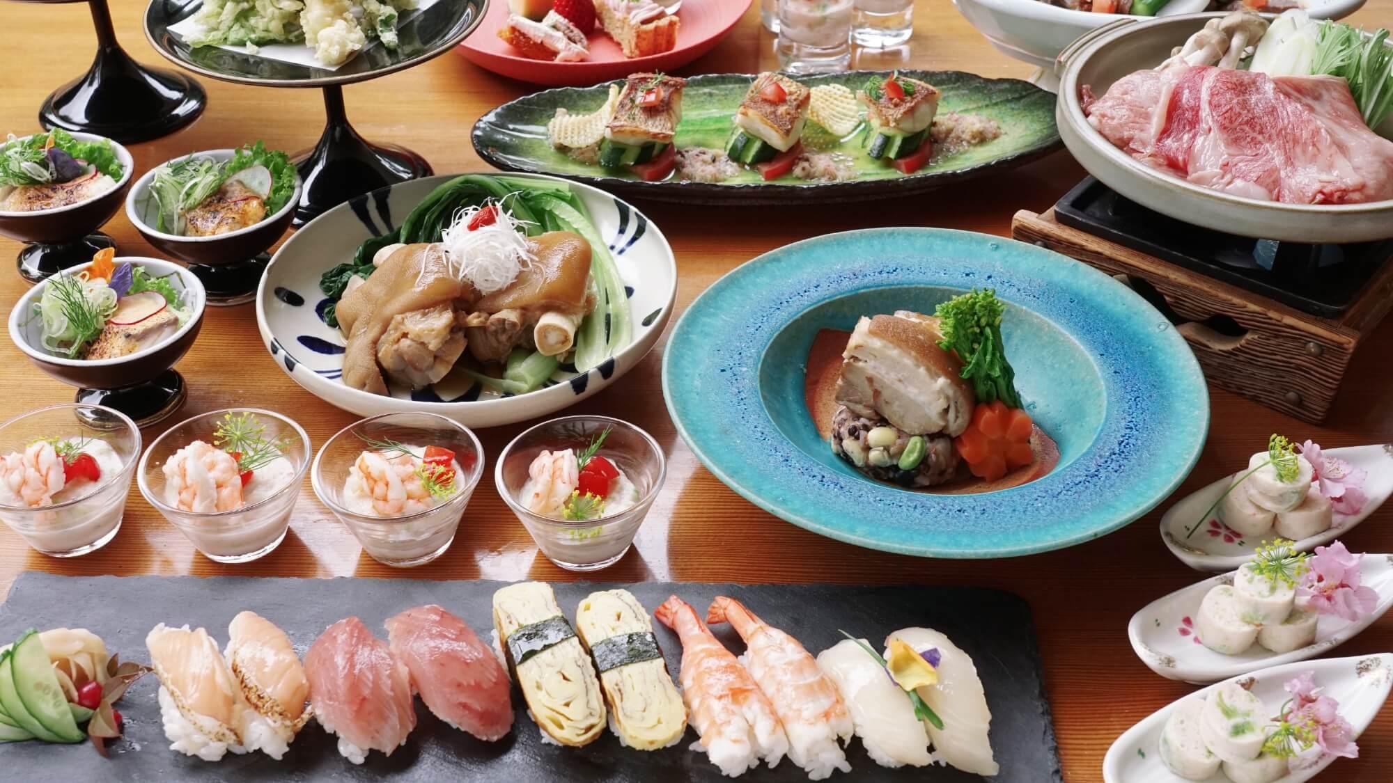【夕朝食付】握り寿司や天ぷらに鍋料理!こだわりが詰まった和流ディナービュッフェ(展望大浴場入り放題)