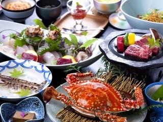 【食材の宝庫・佐賀欲張り】茹で竹崎蟹・佐賀和牛溶岩プレート焼・新鮮魚介にサザエも