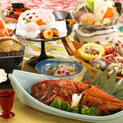 ♪♪50歳からの旅シニア割引♪♪ 「夕凪膳」舟盛&アワビ&金目鯛 お2人合計8000円オフ