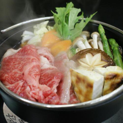 ブランド牛「上州牛」と季節の彩り野菜を味わい尽くす!料理長特製【すき焼き】付き月替り会席プラン