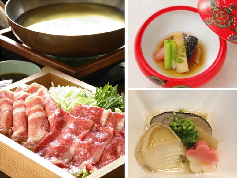 <朝夕食個室>【山形牛&米澤豚しゃぶしゃぶ】ブランド牛と豚の食べ比べ!料理はボリューム重視の方へ♪