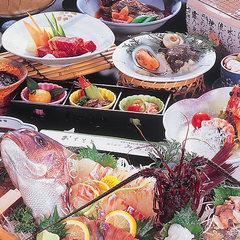 【旬の焼き牡蠣付プラン】伊勢えび・鯛の舟盛り&特選和牛陶板焼き付!
