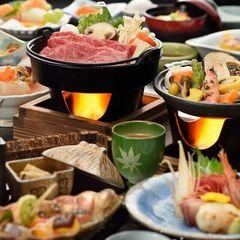 福島県ブランド認証「福島牛」を食す!【すき焼き鍋+陶板焼き】 福島牛舌鼓み♪プラン