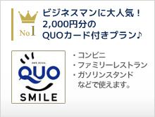 ビジネスマンに大人気!2000円分のQUOカード付きプラン♪