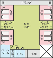 【和室16畳+洋室の個室4部屋】トイレ2箇所・ユニットバス有
