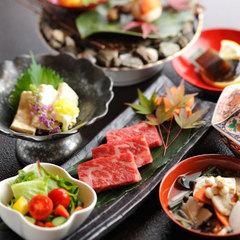 お肉もお魚も両方食べたい!人気の☆「国産牛の陶板焼き」と山の幸「川魚の塩焼き」付