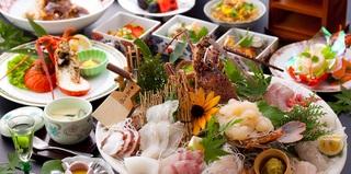 伊勢海老や鮑など渡り蟹等、天草産高級食材をふんだんに使った『蛍』プラン