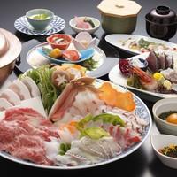 美味の競演しゃぶしゃぶプラン《夕食はお食事処にて♪》【山海の恵み・牛肉・金目鯛他満載】