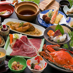 【竹崎かに】【お肉派人気No.1】佐賀産和牛のすき焼き&ステーキ♪肉loveプラン【前菜ビュッフェ】