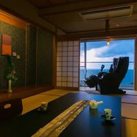 夕日と紺碧の海を望む「10畳+広縁(マッサージソファー付)」
