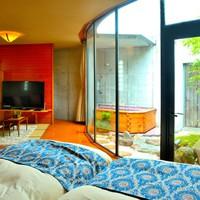「フラット館」露天風呂、中庭付き、コンパクトな一戸建て。落ち着きを求めた空間 二人だけで過ごす休日