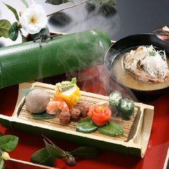 《冷酒&館内利用券の特典付き》露天風呂付き客室で優雅なひとときを♪お料理[竹]