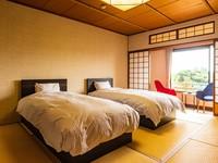 【泰平】ツインベッドを設えた純和風空間の和室10畳:禁煙