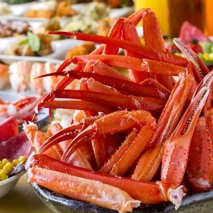 牛肉の鉄板焼き、ズワイガニ、お寿司など食べ放題★ディナーバイキングで満腹!★天然温泉×阿蘇の大自然★