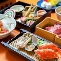 タラバ蟹や旬菜の蒸し料理とローストビーフのプラン