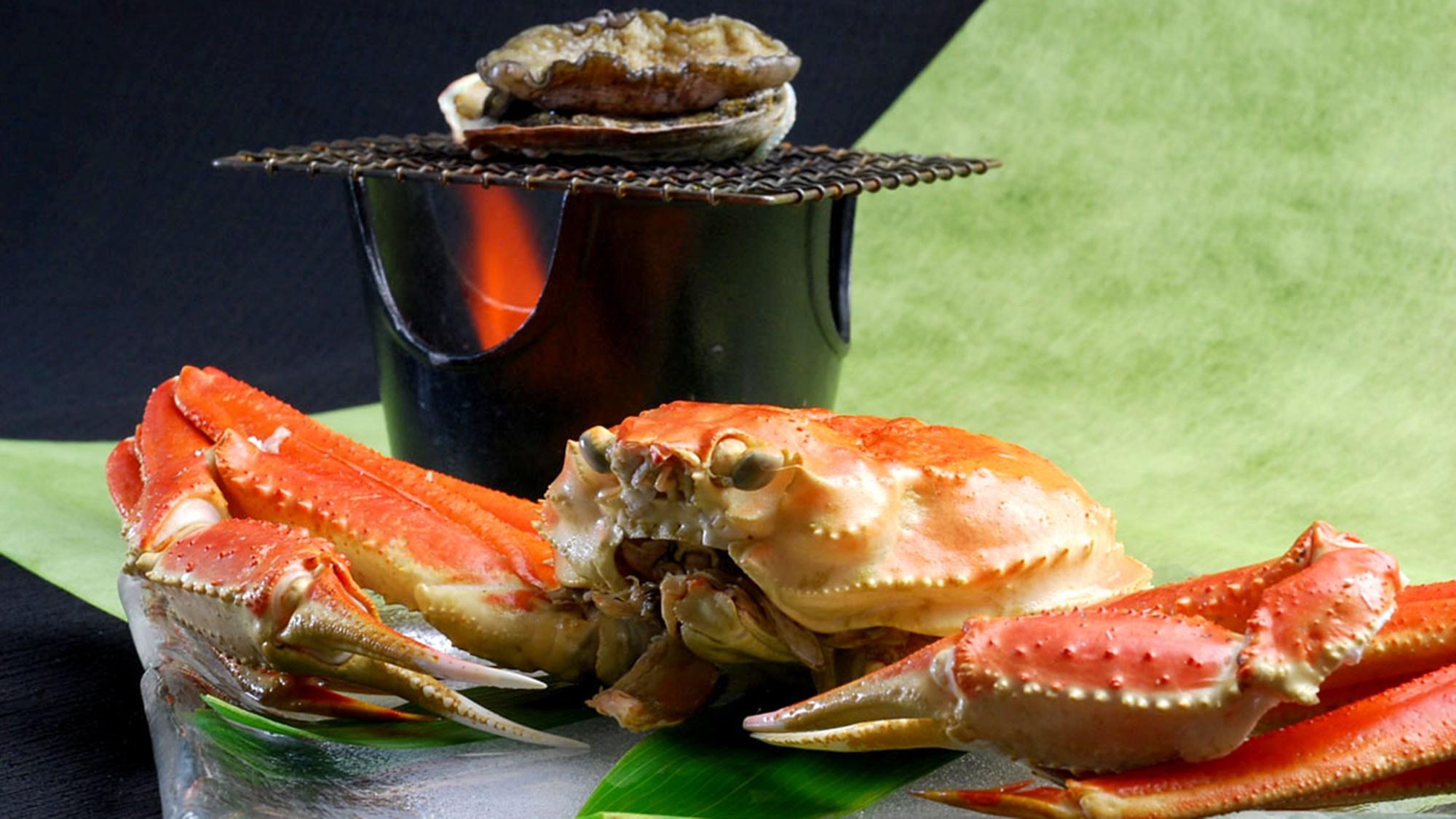 【選べるメイン】『新鮮!プリプリ鮑踊り焼き』or『ど~んと一杯のズワイ蟹(冷凍)』+能登の海の幸会席