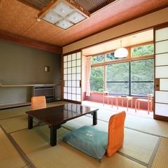 【温玉荘・和室10畳】昔懐かしい純和風木造・松川渓谷ビュー