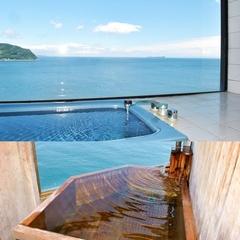 オーシャンフロント展望風呂付客室でお寛ぎ頂ける、ご夕食海鮮バイキングプラン