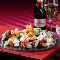 【2食+ドリンク付】◆ 鮨ダイニング・天空 牡丹:クリスマス限定ディナー ◆煌く夜景に乾杯