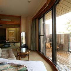 オーシャンビュー庭園+檜露天風呂(和室2間+コーナーベッド)