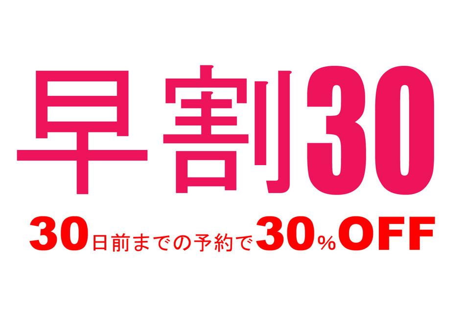 【オンラインカード決済・販売日限定】絶対お得!早割30 (30日前の割引プラン)