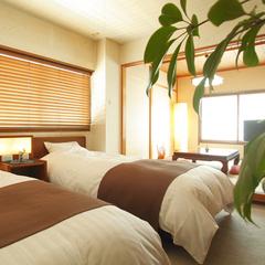 【シモンズベットの和洋室】ツインベッド+和室6畳