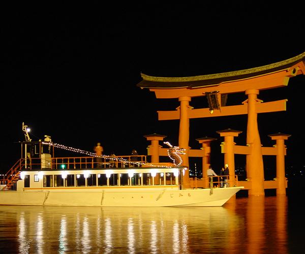 【夕食はイタリアンディナー】世界遺産宮島の大鳥居を望む♪大人気ナイトクルーズの乗船券付プラン♪