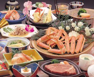 焼蟹&鳥取牛付き会席(お部屋食)