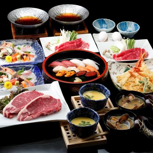 <個室食>◆贅沢に北海道を満喫!道産和牛ステーキ・寿司・天ぷら・すき焼き〜4大夕食プラン【夕朝食付】