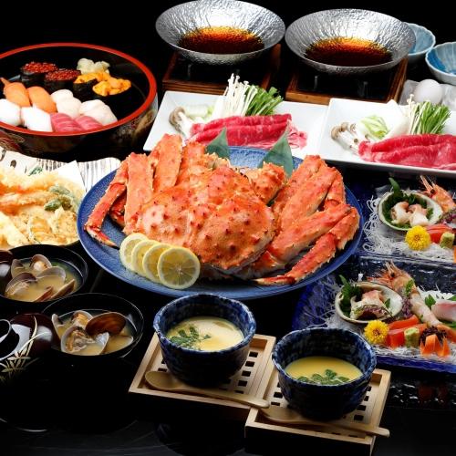 <個室食>◆贅沢に北海道を満喫!タラバガニ・寿司・天ぷら・すき焼き〜4大夕食【夕朝食付】