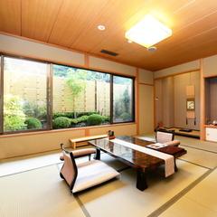 【2階純和室】源泉掛流し半露天風呂+個別庭園