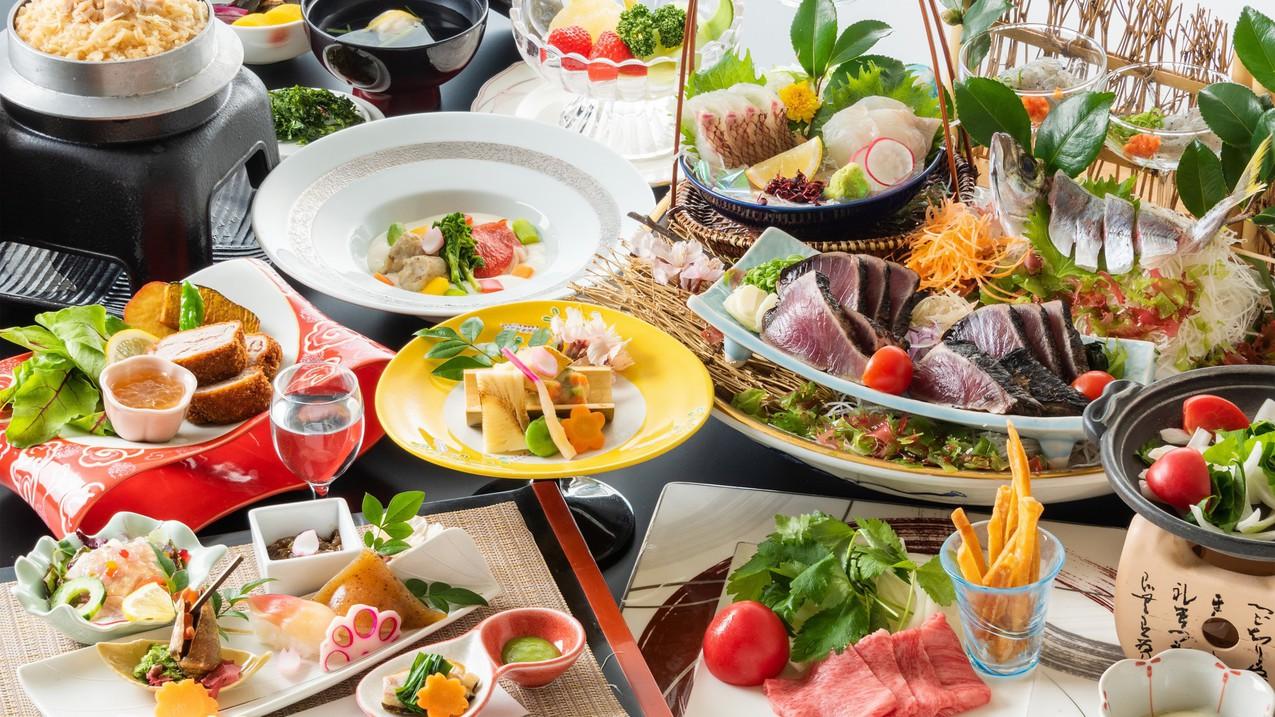 【迷ったらコレ!】鰹の藁焼きタタキはもちろん!豪快な皿鉢料理や土佐の珍味を味わう基本プラン