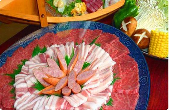【さき楽28】【焼肉鉄板焼き&お刺身♪】国産お肉の鉄板焼きプラス地魚のお刺身付き満腹プラン)