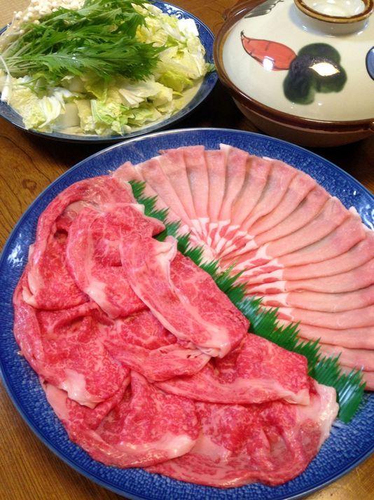 【新秋】和牛肉、豚ロース盛り合わせのしゃぶしゃぶ鍋プラス地魚のお刺身付き満腹プラン)