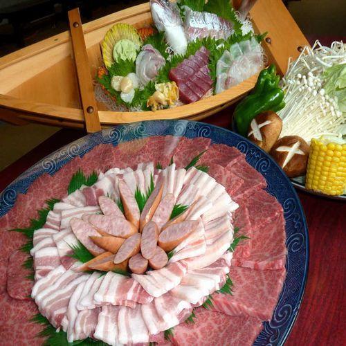 【焼肉鉄板焼き&お刺身♪】国産お肉の鉄板焼き&地魚のお刺身付プラン