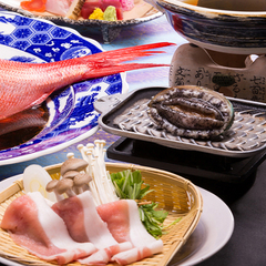 1泊夕食★朝までぐっすりもよし、早朝出発にも便利♪夕食は鮑&金目鯛&豚しゃぶ!