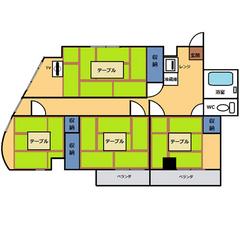 【禁煙】和室4間(60平米)・キッチン無し