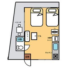【禁煙】高層階DXツインルーム・テラス キッチン付き