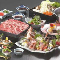 【星降る宿の霜降る和牛を楽しむ】肉質日本一!!とろけるような口どけ「鳥取和牛しゃぶと地魚旬魚盛合せ」
